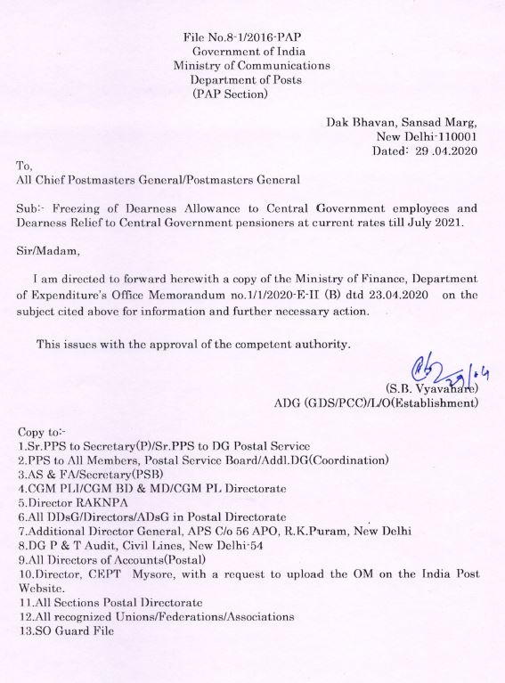 Freezing of DA and DR to all postal employees and pensioners