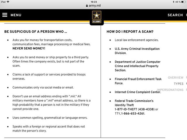 ScamHaters United Ltd: ARMY ADVICE ON MILITARY ROMANCE SCAMS