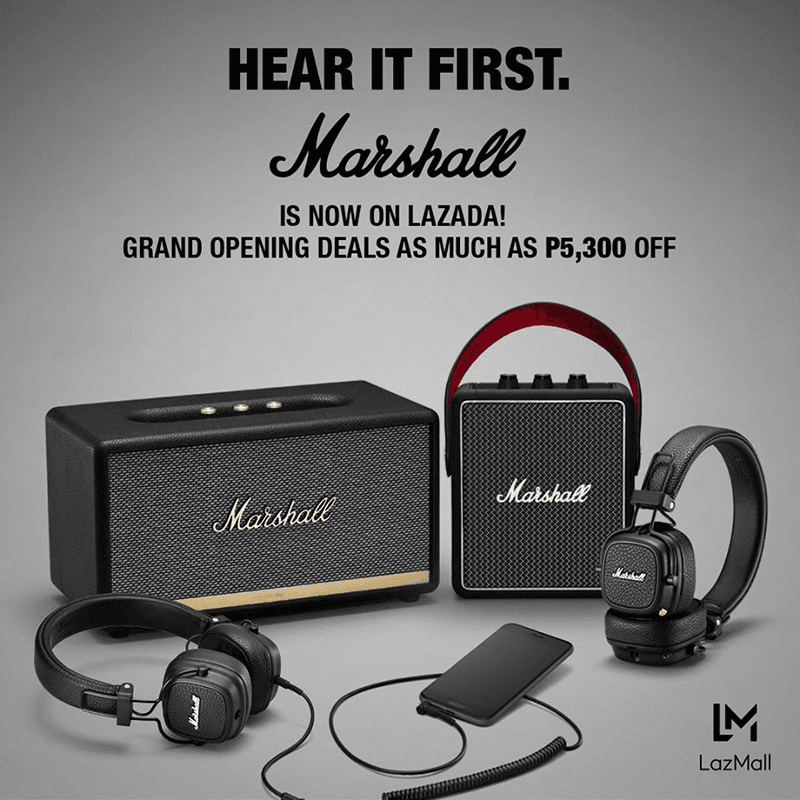 Marshall now on LazMall, reveals deals until August 31