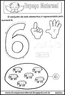 Desenho numeral 6 para colorir