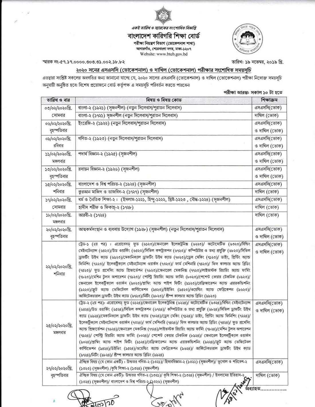 ssc vocational Exam routine 2020 new