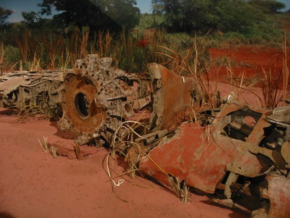 The rusted remains of Nishikaichi's airplane at the Pacific Aviation Museum on Ford Island.