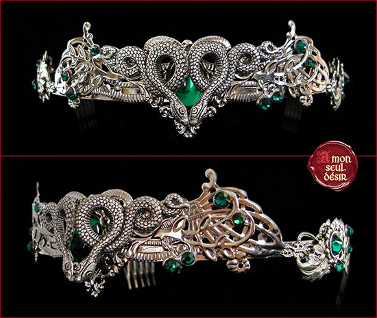 serpent bijoux couronne tiare diadème vert argent serpentard slytherin crown tiara headdress diadem silver green emerald snake jewelery
