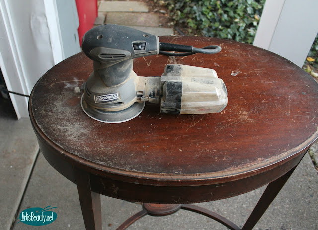 ROCKWELL RANDOM ORBITAL SANDER FRENCH POSTAGE PARLOR TABLE PAINTED MAKEOVER STENCIL