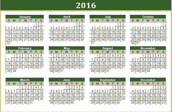 Printable Calendar 2016: 2016 Islamic Printable Calendar - UAE ...