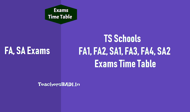 telangana ts schools formative summative assessment exams time table,fa1,fa2,fa3,fa4 exams time table,sa1,sa2 exams time table,ssc public exams 2019 time table,unit test time table, quarterly,half yearly,annual exams time table