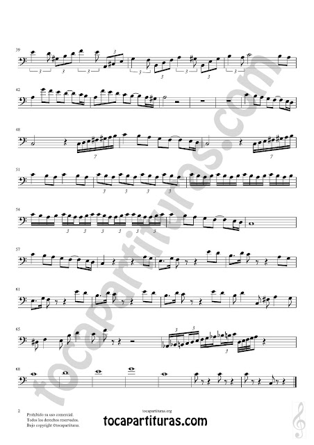 2  Trombón y Bombardino Partitura de Pas de Deux Sheet Music for Trombone and Euphonium Music Scores. Tonalidad Fácil Do Mayor (C Major) PDF/MIDI Clave de Fa