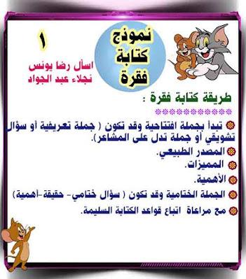 مذكرة شرح كتابة فقرة منهج اللغة العربية للصف الثالث الابتدائي الترم الأول 2020