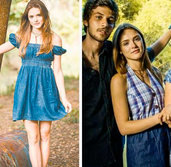 Figurino A lei do amor, Helô (Isabelle Drummond) primeira fase, vestido jeans