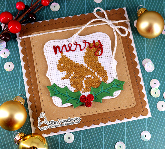 Squirrel card with Frame Dies by Ellen Haxelmans | Frames Squared Die Set, Pines & Holly Die Set and Snow Globe Shaker Die Set by Newton's Nook Designs #newtonsnook #handmade
