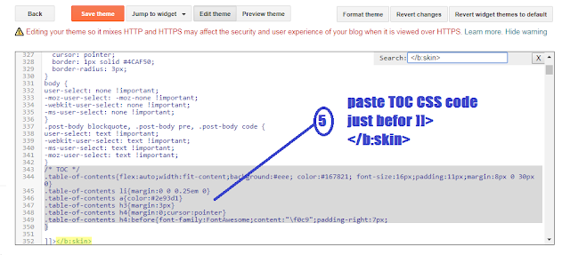 adding TOC to Blogger