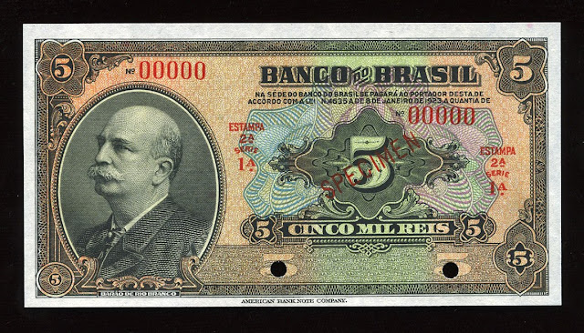 World Paper Money currency Brazil banknotes bill Mil Reis Real