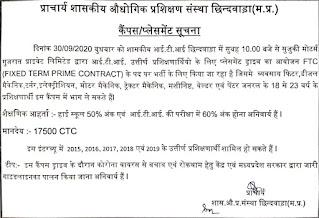 Govt ITI, Chhindwara, Madhya Pradesh ITI Jobs Campus Placement Interview For Suzuki Motor Gujarat