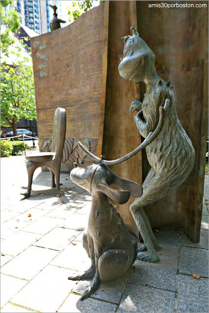 El Grinch y Max en el Jardín de Esculturas del Dr. Seuss en Springfield