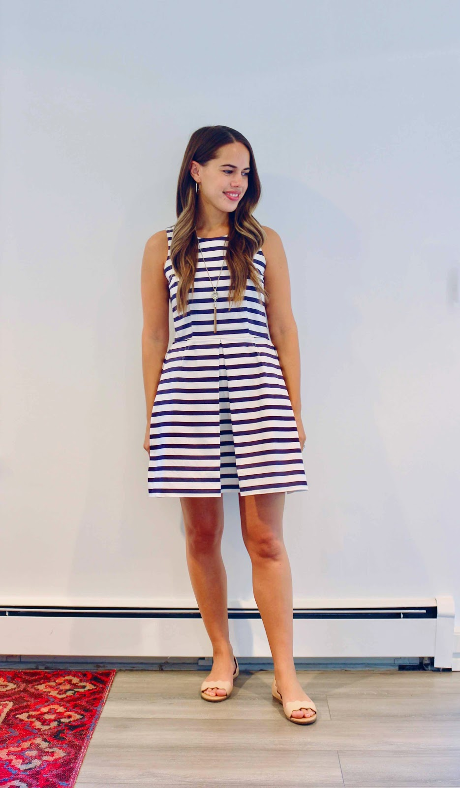 Jules in Flats - Striped Fit and Flare Dress (Business Casual Summer Workwear on Budget)