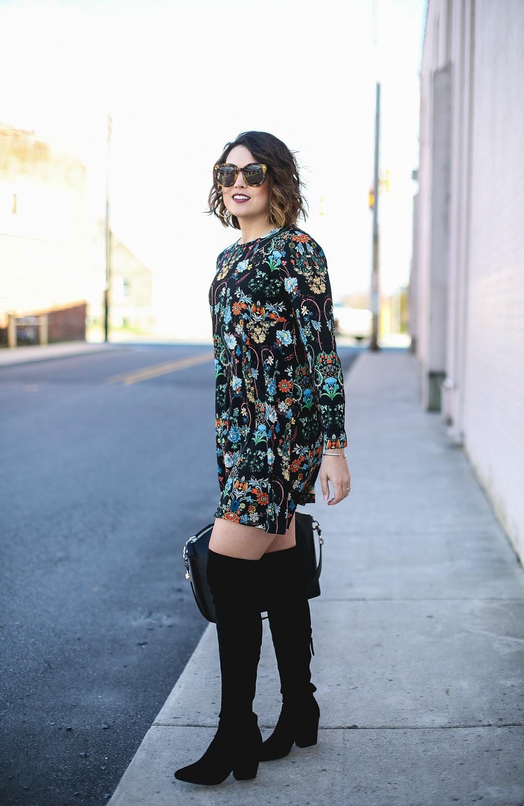 zara print floral dress