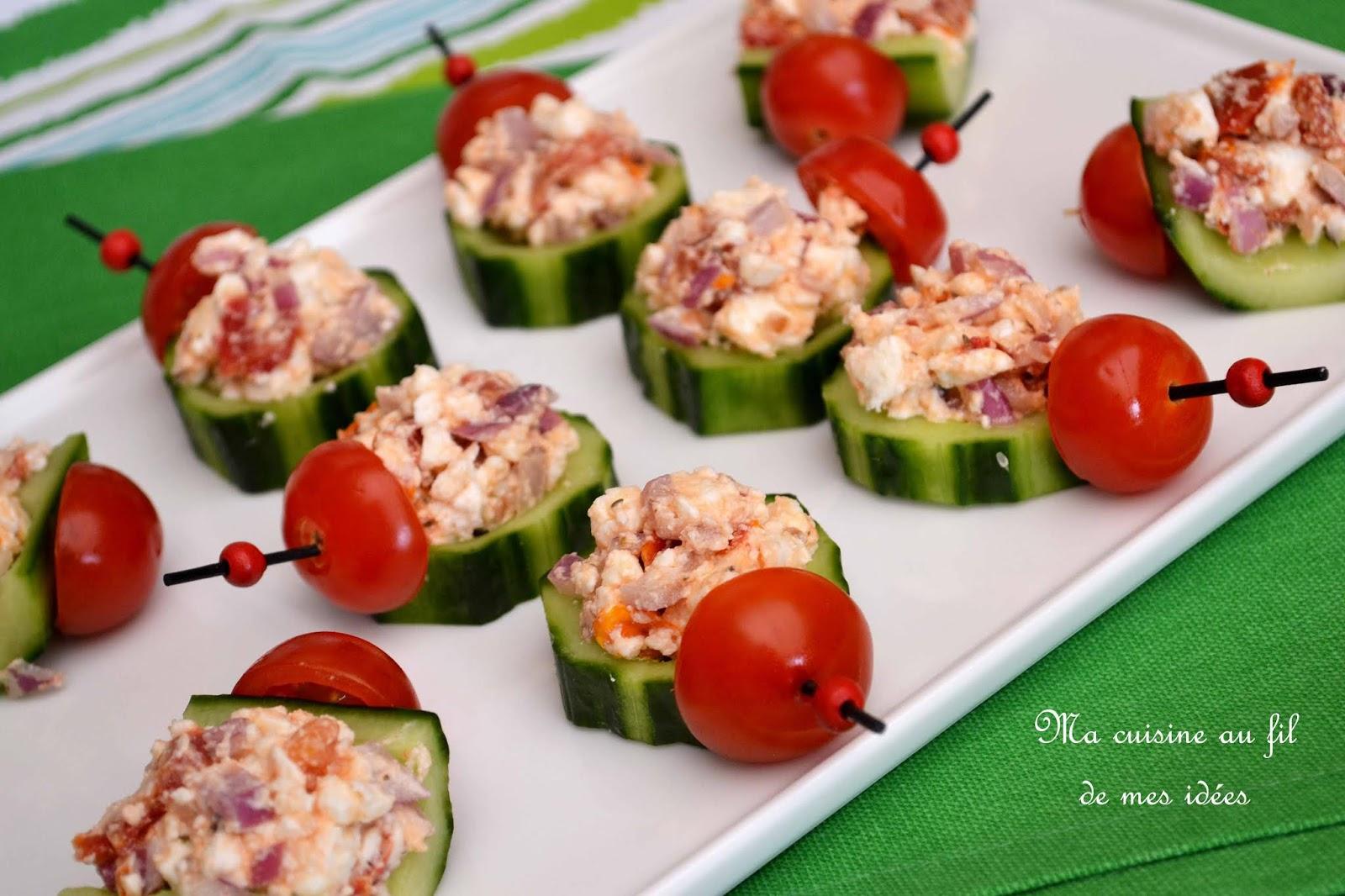 Ma cuisine au fil de mes idées...: Apéro time ! Tapas de concombres farcis à la feta, tomates ...