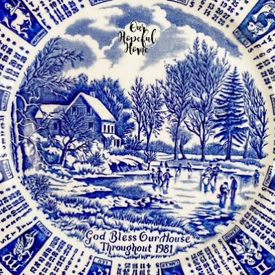 Currier & Ives winter ice skating scene plate