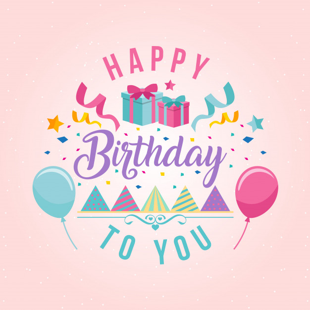 Surprise Theme Happy Birthday Card Illustration Free Vector