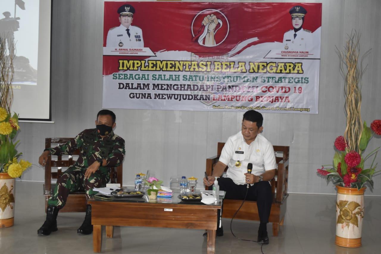 Kasrem 043/Gatam Hadiri Diskusi Panel Implementasi Bela Negara Dalam Menghadapi Pandemi Covid 19.