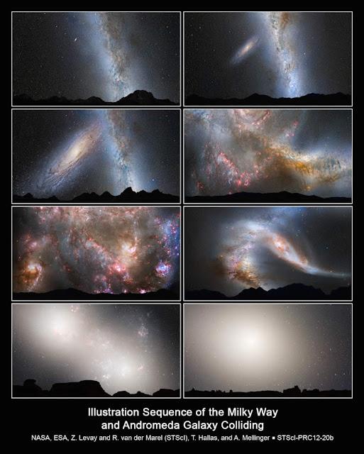 La posible y futura colisión en imágenes. Así chocarán las galaxias Vía Láctea y Andrómeda, para dar origen a una nueva Galaxia.