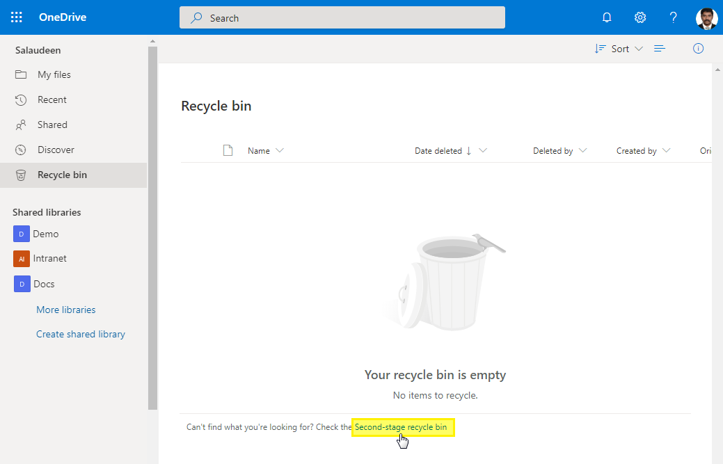 onedrive for business empty recycle bin powershell