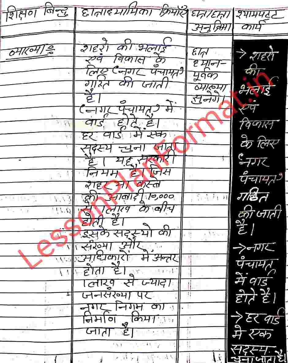 Civics Lesson Plan in Hindi