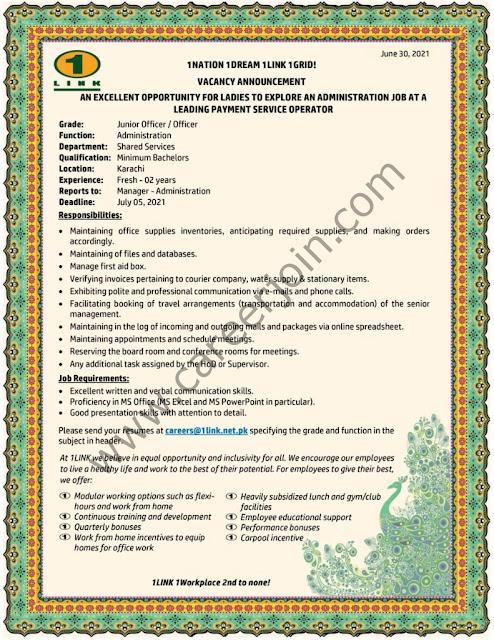 1LINK Pvt Ltd Jobs Junior Officer / Officer