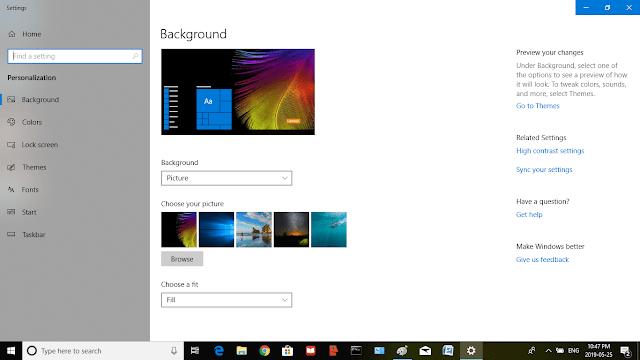 Desktop Background Using Windows 10