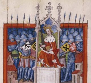 Representació ideal d'un rei medieval. (Tractatus de ludo scacorum, 14v) Biblioteca Nacional de España en Biblioteca Digital Hispánica. Licencia CC BY-NC-SA.