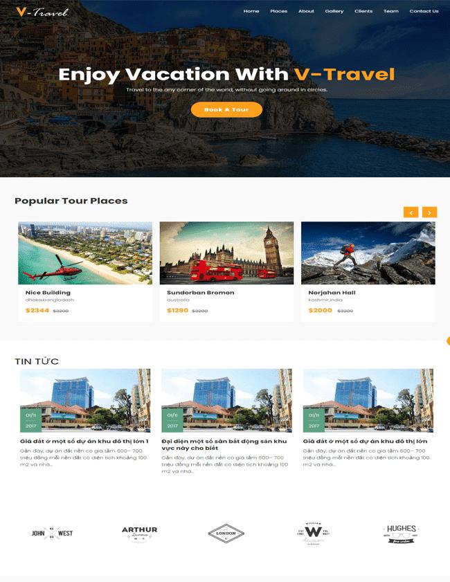 Template blogspot Landing page website du lịch - Công ty du lịch - lữ hành