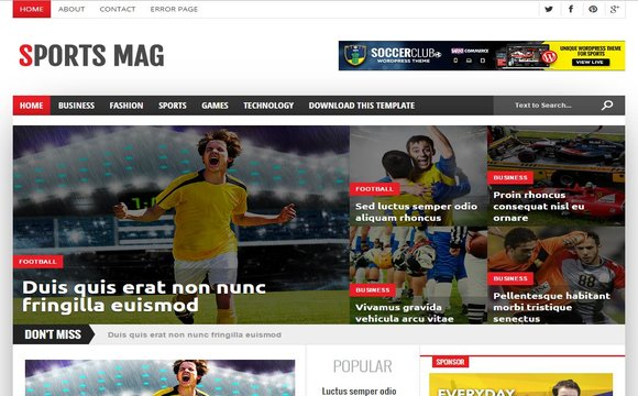 Sports Mag Responsive Blogger Template