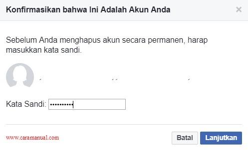 Konfirmasi Sebelum Menghapus Akun Facebook Permanen