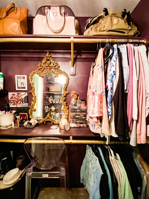 berry and gold closet
