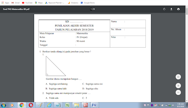 Soal matematika semester 2 kelas 4 sd/mi dan kunci jawaban