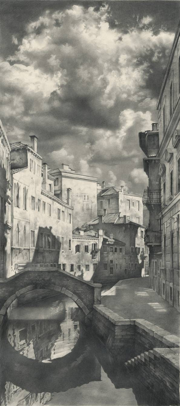 08-A-view-from-a-bridge-Denis-Chernov-Urban-Architecture-Pencil-Drawings-www-designstack-co