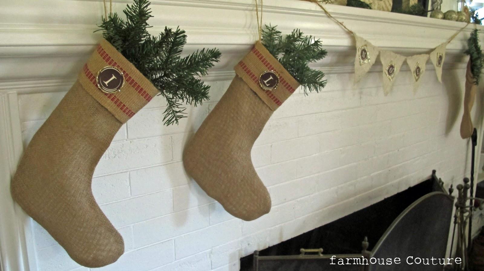 burlap christmas stocking: ballard designs knockoff