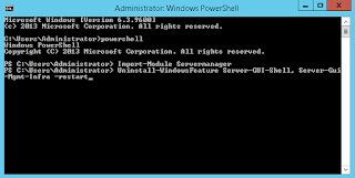 Switch GUI to Core in Windows 2012 R2 using Powershell