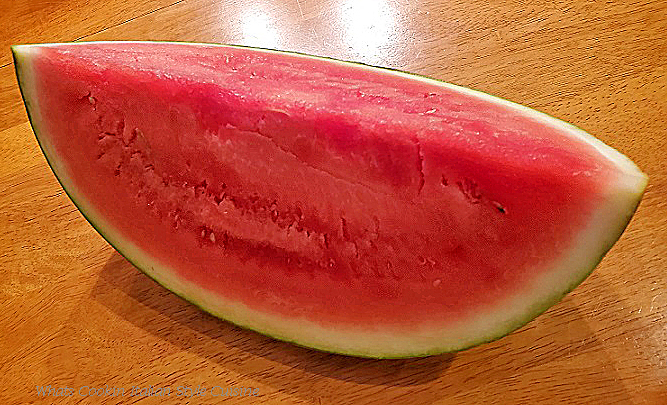 This is a watermelon section sliced and seedless
