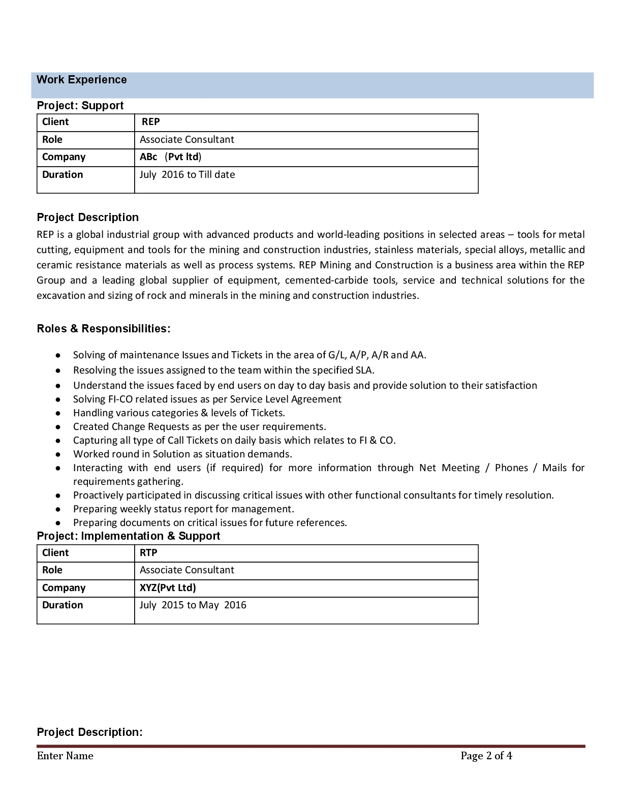 SAP FICO Resume With 3 Years Experience - Instant Download - Resume ...