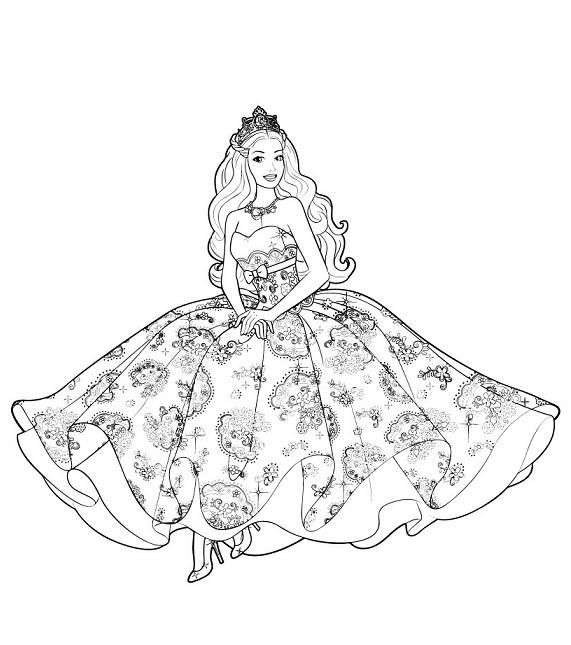 Gambar Mewarnai Barbie Princess Terbaru