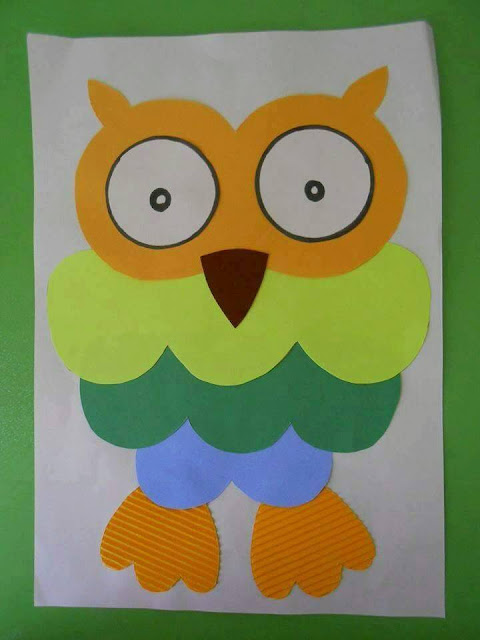 Idea to make something from folded paper for kids : owl