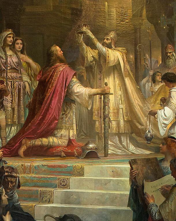 São Leão III Papa sagra Carlos Magno  imperador do Sacro Império na noite de Natal do ano 800 Friedrich Kaulbach, (1822 – 1903)