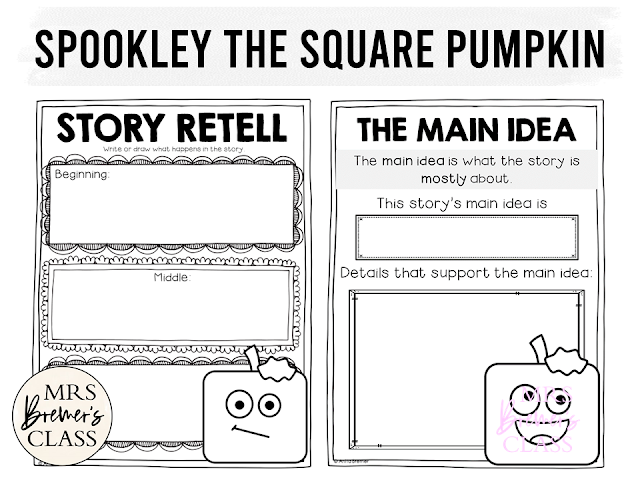 Spookley the Square Pumpkin book study unit with Common Core literacy companion activities & craftivity for Halloween in Kindergarten and First Grade