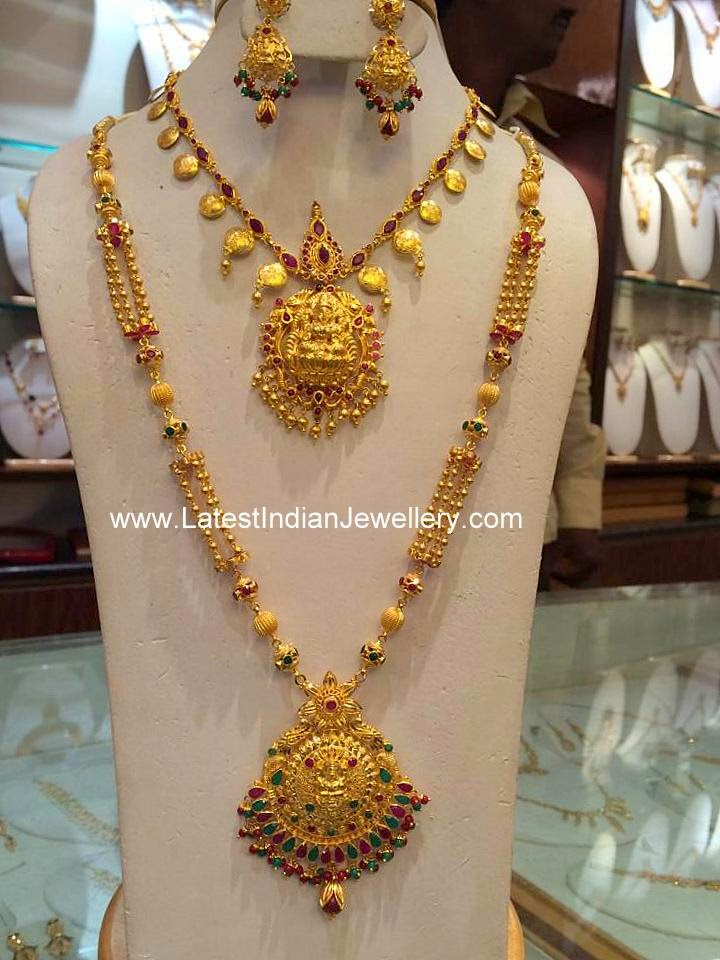 Temple Style Gold Necklace Haram Set Latest Indian