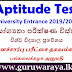 Aptitude Test Details : University Entrance 2019/20
