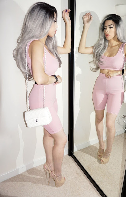 the Femme Luxe Pink Ribbed Strappy Crop Top & Cycling Shorts Co-ord - Stacie.