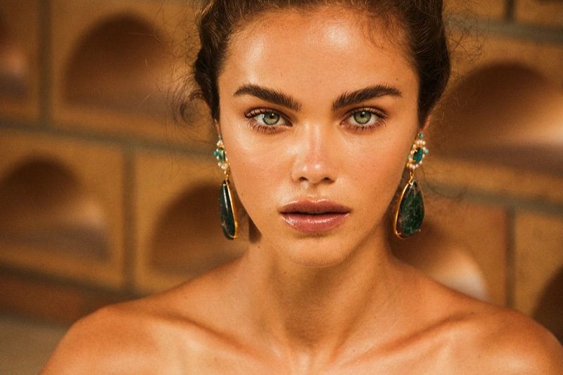 Christie Nicolaides spotlights statement earrings for Villa Vera campaign