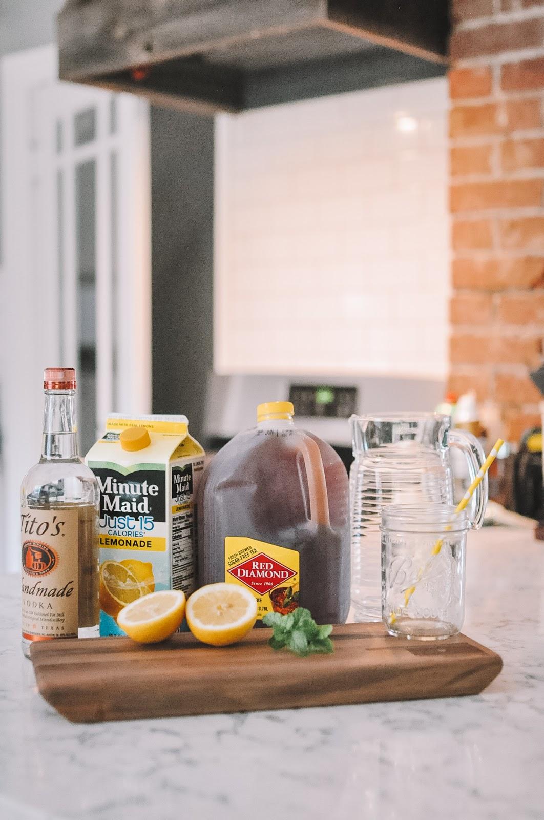 ingredients for Amanda Martin's Okie Sweet Tea Slush cocktail recipe