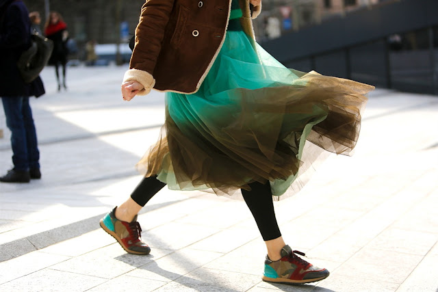 streetstyle milano fashion week - tulle